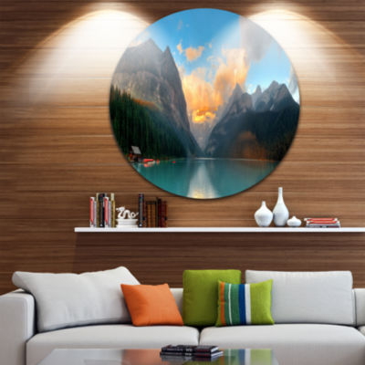 Designart Lake Louise Sunrise Banff Park SeascapeMetal Artwork