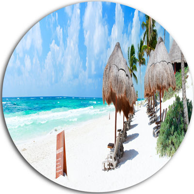 Designart Caribbean Coast in Tulum Mexico SeascapeMetal Artwork