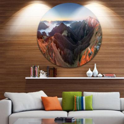 Designart Red Mountain Sunset Panorama LandscapeMetal Circle Wall Art
