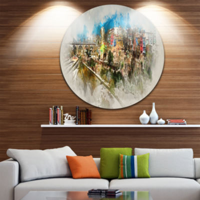 Design Art Villajoyosa Town Watercolor Cityscape Metal Circle Wall Art