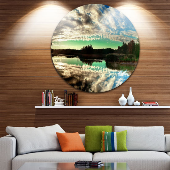 Designart Sky Clouds Mirrored in River Panorama Landscape Metal Circle Wall Art