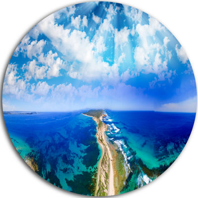 Designart Blue Fort Nepean Road from Helicopter Landscape Metal Circle Wall Art