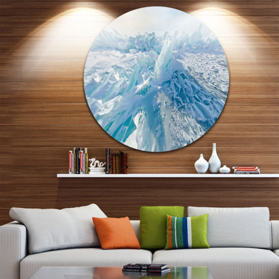 Designart Blue Ice Hummocks in Siberia Lake BaikalLandscape Metal Circle Wall Art