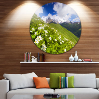 Designart Blossom Flowers in Mountains LandscapeMetal Circle Wall Art