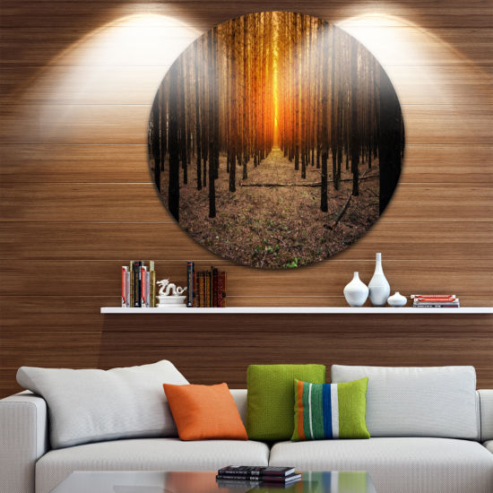 Designart Halloween Themed Spooky Dark Forest Oversized Forest Metal Circle Wall Art