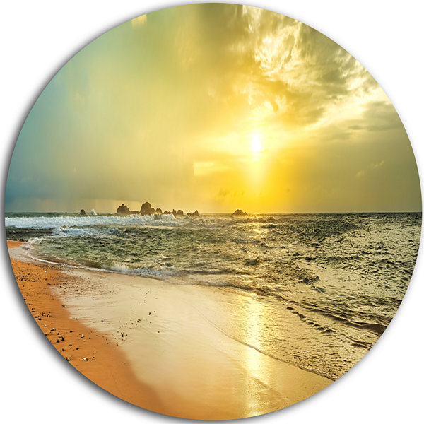 Designart Bright Yellow Sunset Beach Panorama Seascape Metal Artwork