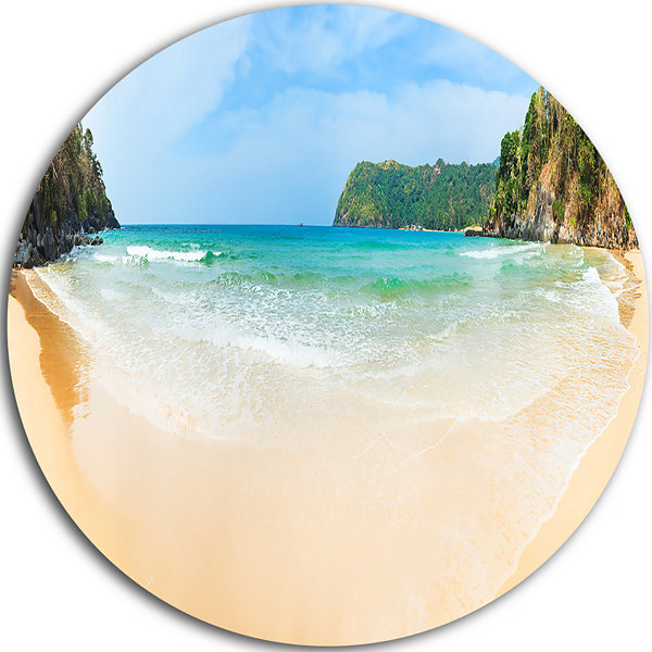 Designart Exotic Vacation Seashore Panorama Seascape Metal Artwork
