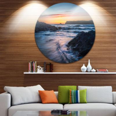 Designart Setting Sun at Polzeath Beach SeascapeMetal Artwork