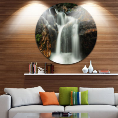 Designart Slow Motion Waterfall on Rocks LandscapeMetal Circle Wall Art