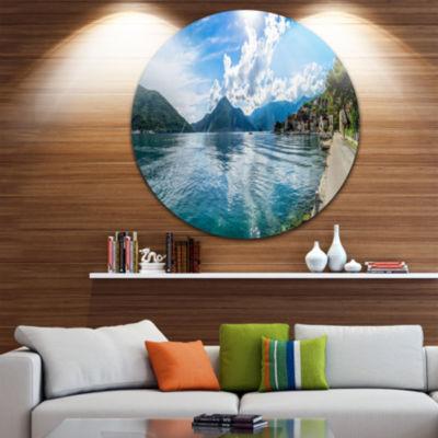 Designart Kotor Bay on Summer Day Panorama Landscape Metal Circle Wall Art