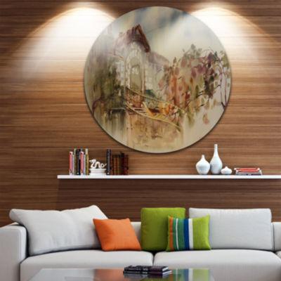 Designart Abstract Old Building WatercolorAbstractMetal Circle Wall Art