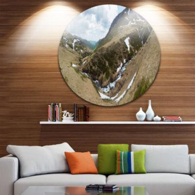 Designart Wild Sprint Mountain Panorama LandscapeMetal Circle Wall Art