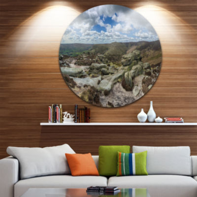 Designart Clouds and Stones under Wild Clouds Landscape Metal Circle Wall Art
