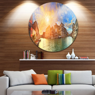 Designart Grand Canal Venice Panorama Cityscape Metal Circle Wall Art