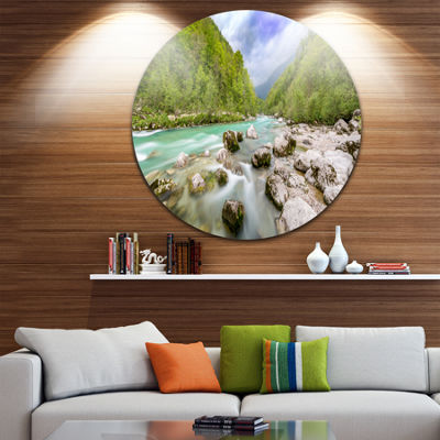 Designart Slovenia Waterfall Panorama Landscape Metal Circle Wall Art