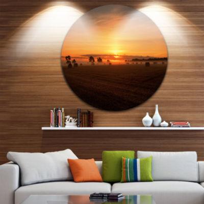 Designart Sunrise at Farmland Bales Landscape Metal Circle Wall Art