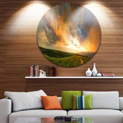 Designart Majestic Sunset with Storm Clouds Landscape Metal Circle Wall Art