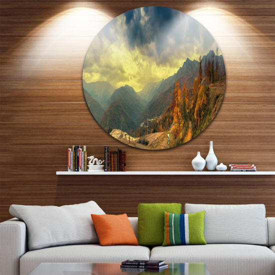 Designart Caucasus Mountains Yellow Panorama Landscape Metal Circle Wall Art