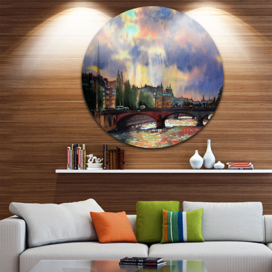 Designart Fabulous Paris City Watercolor Large Photography Metal Circle Wall Art