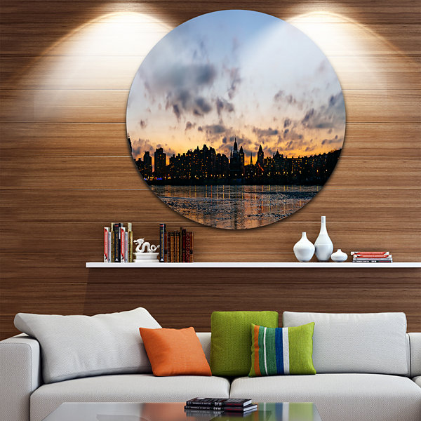 Design Art Sunset with Clouds in Kiev Panorama Cityscape Metal Circle Wall Art