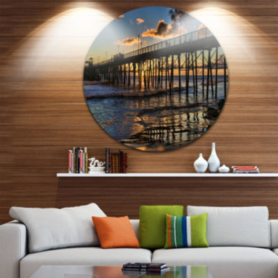 Designart Pacific Ocean Sunset Oceanside Pier Seascape Metal Artwork