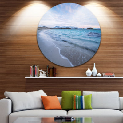 Designart Waves Splashing the Calm Seashore Seascape Metal Artwork