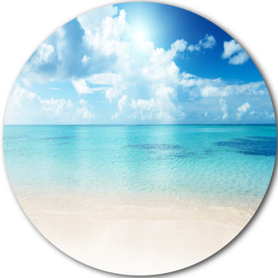 Designart Sand of Beach in Blue Caribbean Sea Seascape Metal Artwork