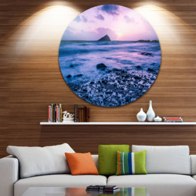 Designart Slow Motion Waves on Rocky Beach Seascape Metal Artwork