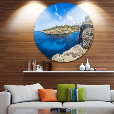 Design Art Cove of Cala Pi Mallorca Panorama LargeSeascape Art Metal Circle Wall Art
