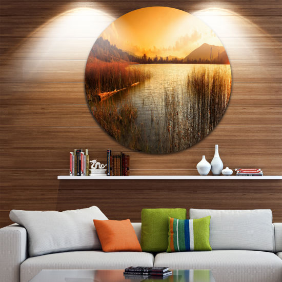 Designart Calm Evening with Lake and Mountains Landscape Metal Circle Wall Art