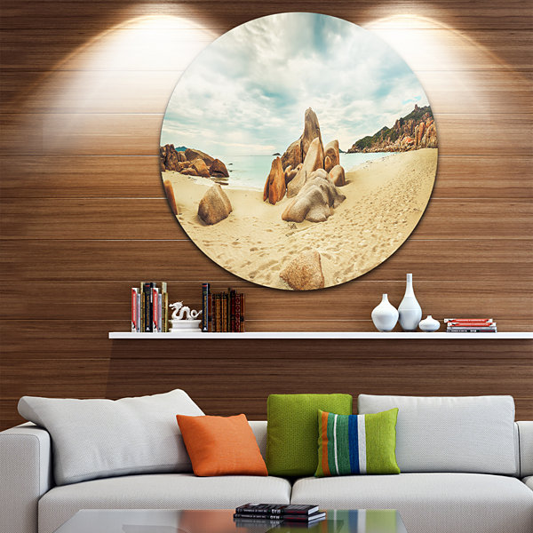Design Art Stones on the Foreground Beach Landscape Metal Circle Wall Art