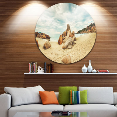 Designart Stones on the Foreground Beach LandscapeMetal Circle Wall Art
