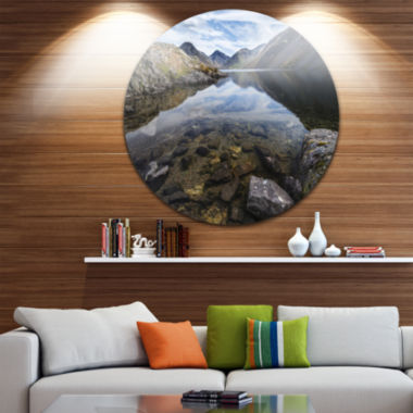 Designart Wast Water with Reflection in Lake Landscape Metal Circle Wall Art