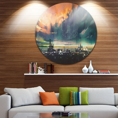 Designart Abstract Sci fi City Watercolor Large Photography Metal Circle Wall Art