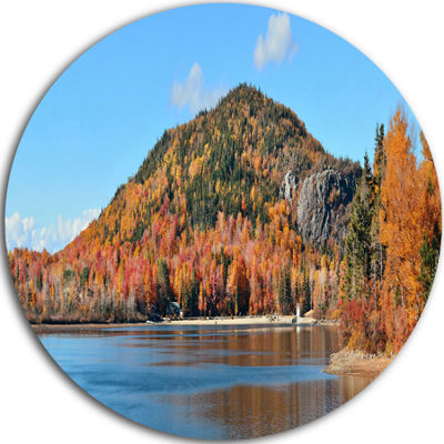Designart Lake and Beautiful Autumn Foliage Landscape Metal Circle Wall Art