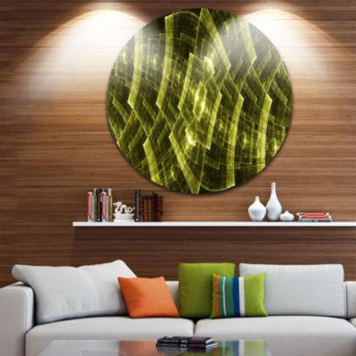 Designart Bright Yellow Fractal Flower GridAbstract Metal Circle Wall Art
