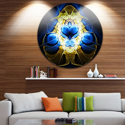 Designart Large Blue Gold Symmetrical Fractal Heart Abstract Metal Circle Wall Art