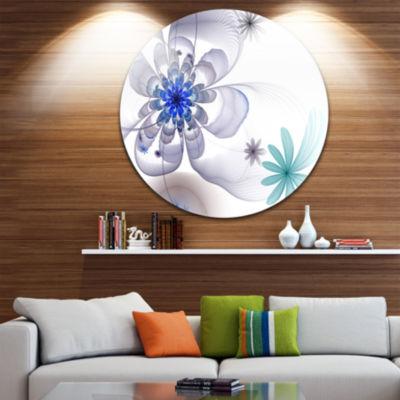 Designart Blue and Grey Symmetrical Fractal FlowerFloral Metal Circle Wall Art