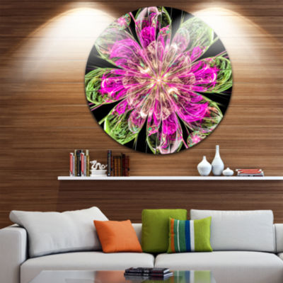 Designart Perfect Fractal Flower in Pink and GreenFloral Metal Circle Wall Art
