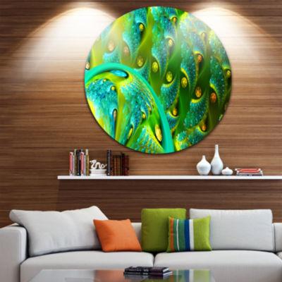 Designart Vibrant Green Fractal Flower Pattern Oversized Abstract Metal Art