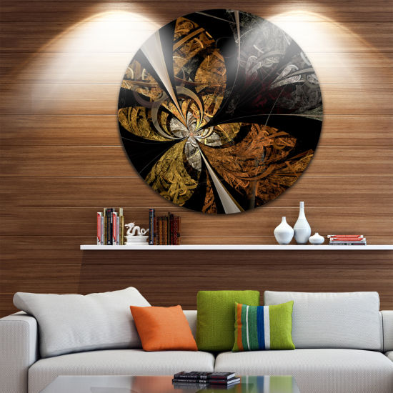 Designart Symmetrical Brown Fractal Flower FloralMetal Circle Wall Art