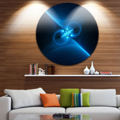 Designart Collision of Two Large Suns in Blue Floral Metal Circle Wall Art