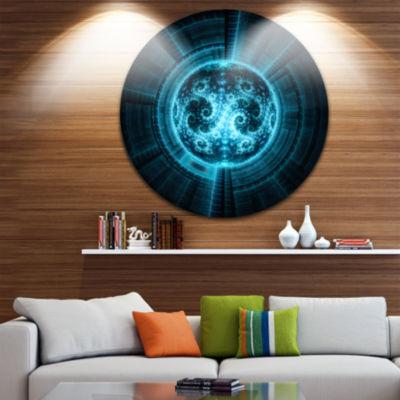 Designart Glowing Bright Blue White Fractal FlowerAbstract Metal Circle Wall Art