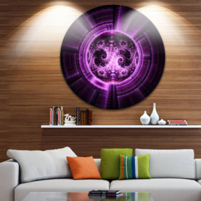 Designart Rounded Purple Glowing Fractal Flower Large Abstract Metal Artwork