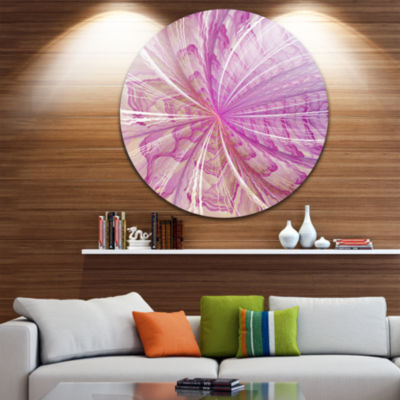 Designart Symmetrical Light Purple Fractal FlowerFloral Metal Circle Wall Art