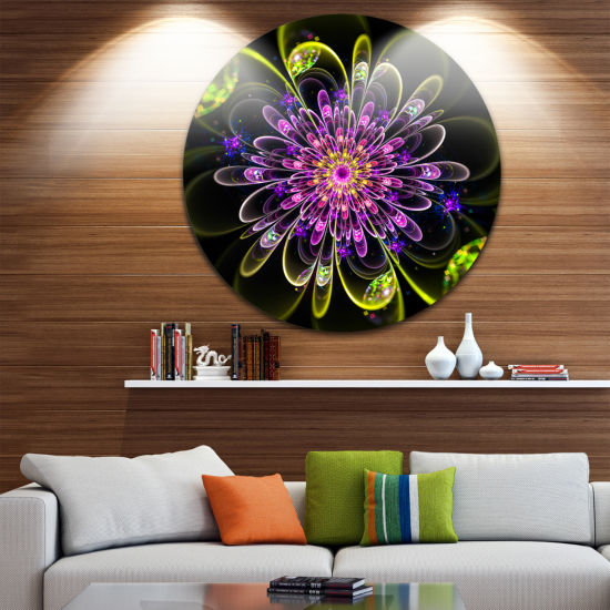 Designart Ideal Digital Art Flower in Purple Yellow Floral Metal Circle Wall Art