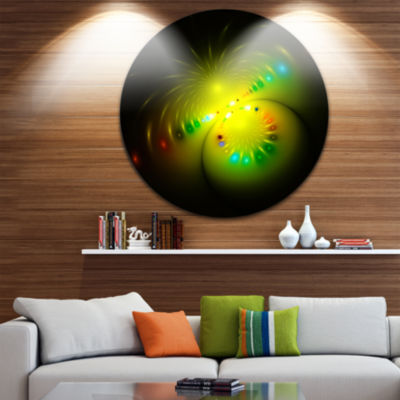 Designart Symmetrical Large Green Fractal FlowerAbstract Metal Circle Wall Art