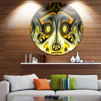 Designart Unique Light Yellow Fractal Design Pattern Oversized Abstract Metal Art