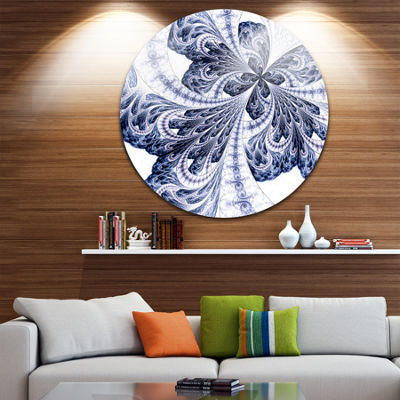 Designart Symmetrical Tight Blue Fractal Flower Floral Metal Circle Wall Art