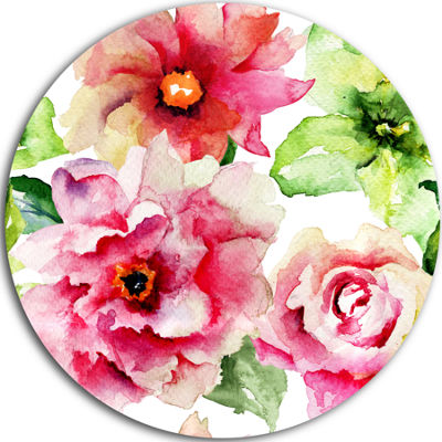 Designart Roses and Gerber Flowers Watercolor Floral Metal Circle Wall Art